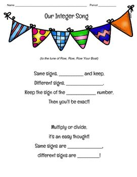 "A song to the tune of ""Row, Row, Row Your Boat"" to help remember the rules for adding, multiplying and dividing integers."