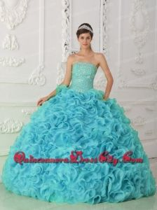 Discount Strapless Organza Beading Ball Gown Quinceanera Dress in Blue