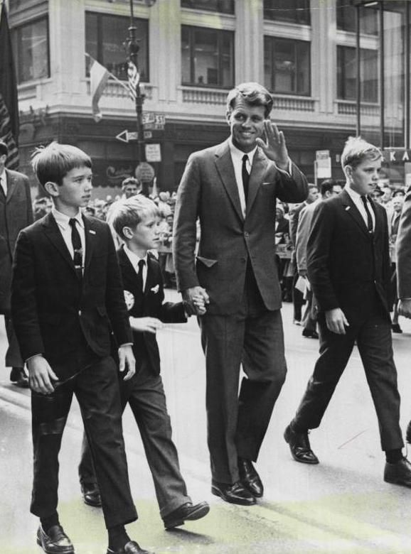 Bobby Kennedy with his sons, Bobby Jr., David and Joe II