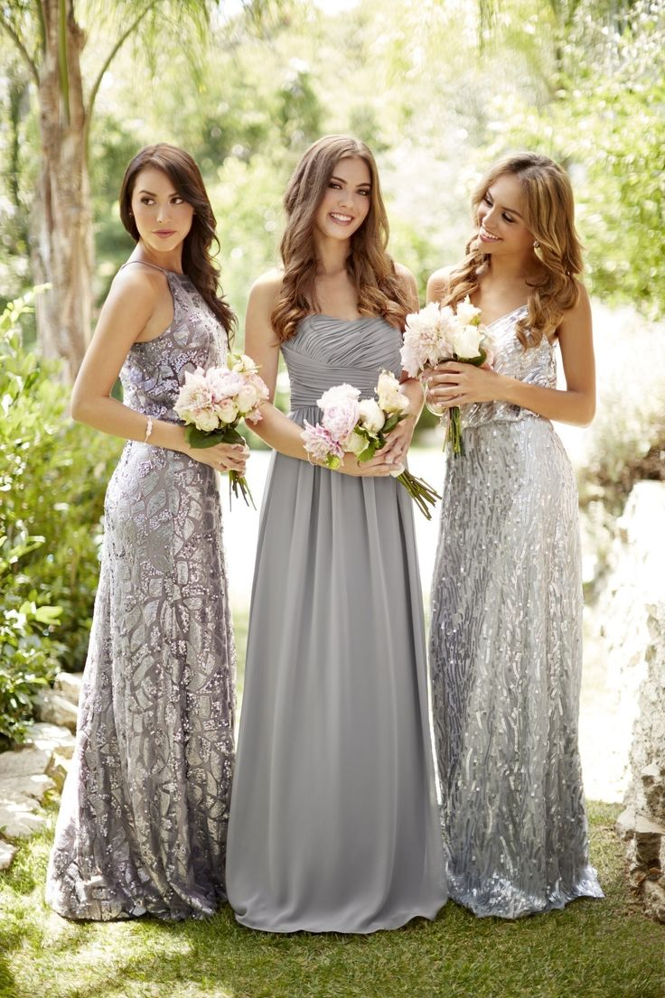 Always look for the silver lining... Love our sequin cloud Courtney and Tiffany dresses paired with the Stephanie in sterling... all by @donnamorgannyc! Discover more bridesmaid dresses to rent at vowtobechic.com.