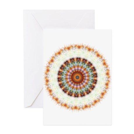 Detailed Orange Earth Mandala Greeting Cards (Pk of 10)