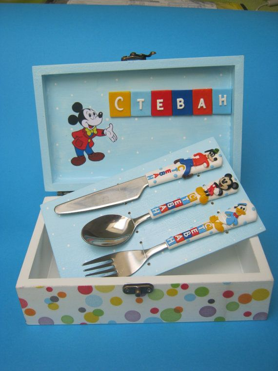 """Personalized keepsake box,Storage wooden box,Personalized Cutlery,Mickey Mouse,Spoon Fork Knife,Disney,Memory box,Christening box,Baptism    Cutlery sets contain :    Spoon , fork and knife in decoupage wooden box (for Baby,for Children,for Adult)  ........      Dimension baby/toddler spoon is 15 cm (6,1"""") 0-3y  Dimension children spoon is 17 cm (6,7"""") 4+y      I custom make any words or names you desire provided the word is no longer than 8- 9 letters on one side, in any color you request…"""