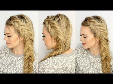 DIY Dutch fishtail Braid Hair tutorial / Side Fishtail Braid - YouTube