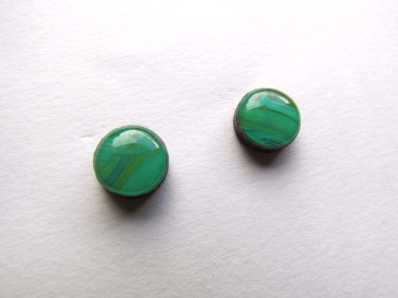 Emerald green painted stud earrings art jewellery resin