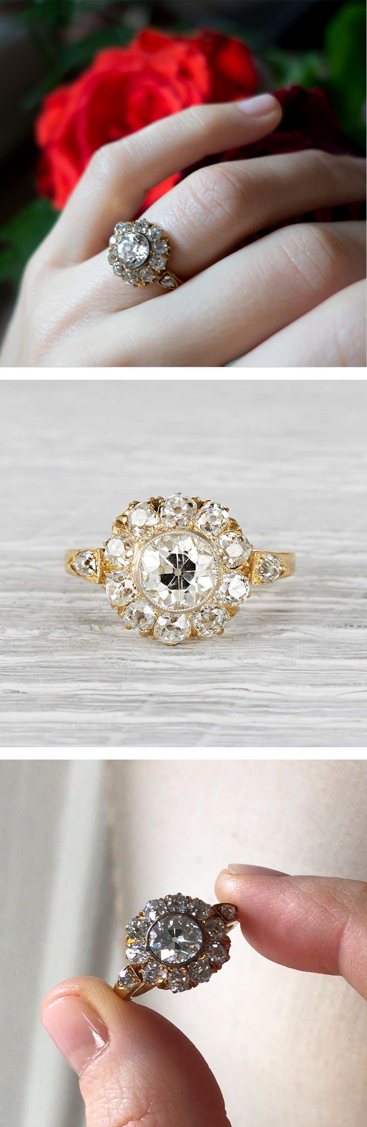 Vintage Victorian cluster ring made in 18k yellow gold and centered with an approximately 1.08 carat EGL certified old European cut diamond with I-J color and SI1 clarity. Surrounded by 10 old European cut diamonds weighing