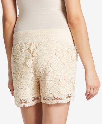Motherhood Maternity Eyelet Shorts - Ivory/Cream XL