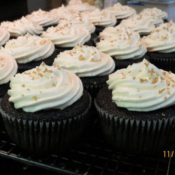 """Chocolate Beer Cupcakes With Whiskey Filling And Irish Cream Icing   """"These cupcakes are made from scratch with a stout beer, then filled with an Irish whiskey-chocolate filling and topped off with some Irish cream icing. These are perfect for St. Patrick's Day."""" #recipe #stpatricksday #entertaining"""