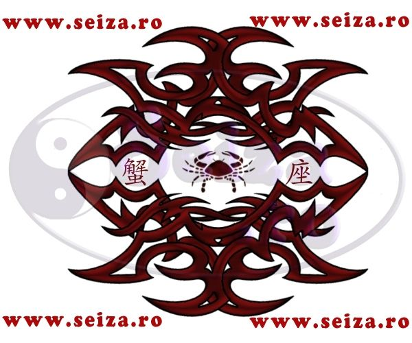 Tribal tattoo gecombineerd met het japans symbool: Kreeft