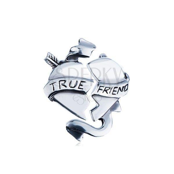 """Dvojitý stříbrný přívěsek 925 - zlomené srdce se stuhou """"TRUE FRIEND""""   Šperky Eshop"""