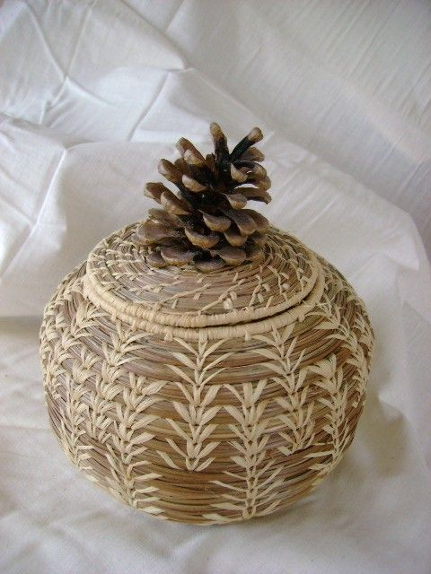 Pine-Needle Basket with Pinecone Lid  split by 2TomorrowsTreasures