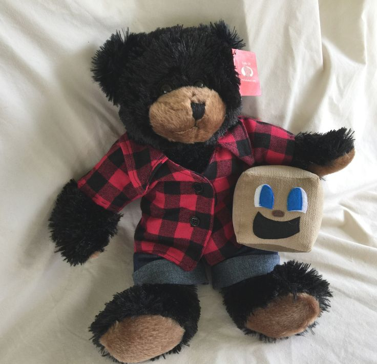 """Excited to share the latest addition to my #etsy shop: NEW! Mark 'A' Bear, OOAK Ready to Ship! 13"""" Tall Fuzzy Black Bear Toy, Markiplier inspired! Youtuber Geekery Plush http://etsy.me/2oJuY2q #art #fiberart #gray #youtuber #youtube #prototype #bear #plush #toy"""