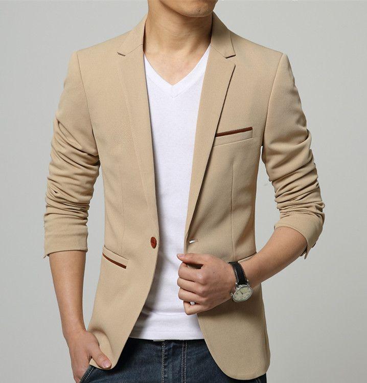 ** 韓版男士修身時尚棉質西裝外套(黑色/藍色/米色) 尺寸: M~5XL