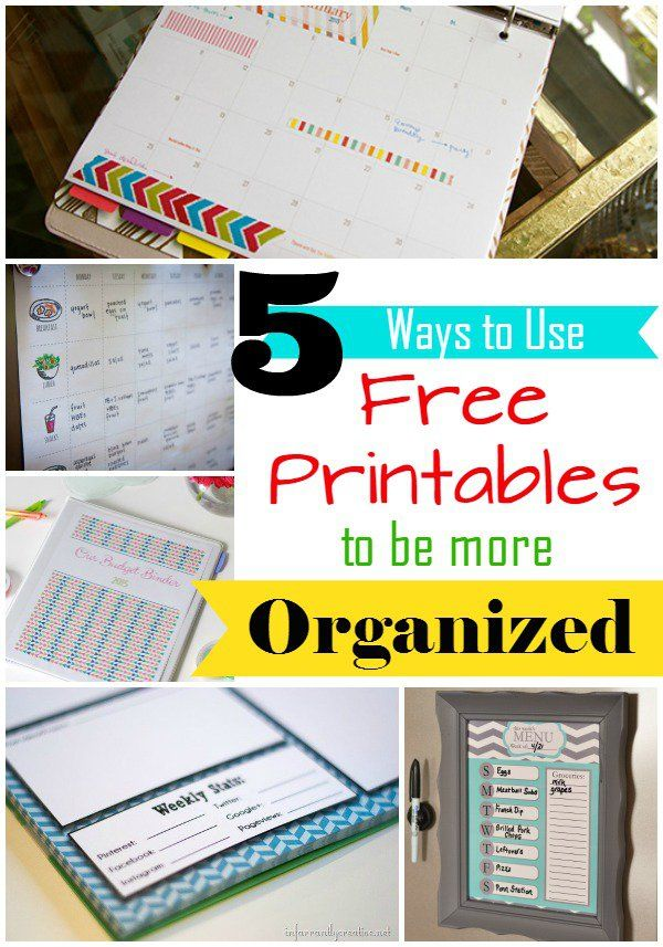 Organize your schedule, budget, diet, and more with these five FREE printables!