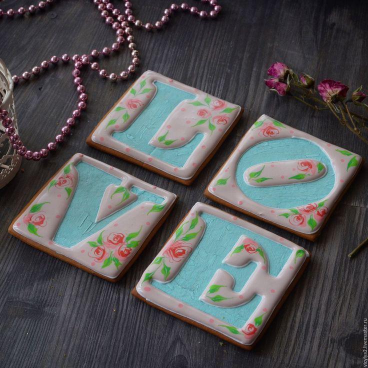 """Купить Набор """"LOVE"""" - бледно-розовый, козули от викули, виктория бредис, пряники, печенье"""
