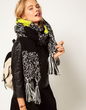 ASOS Neon Mixed Knit Cable Scarf, I want this scarf!!! Contemplating if I can knit it myself though...
