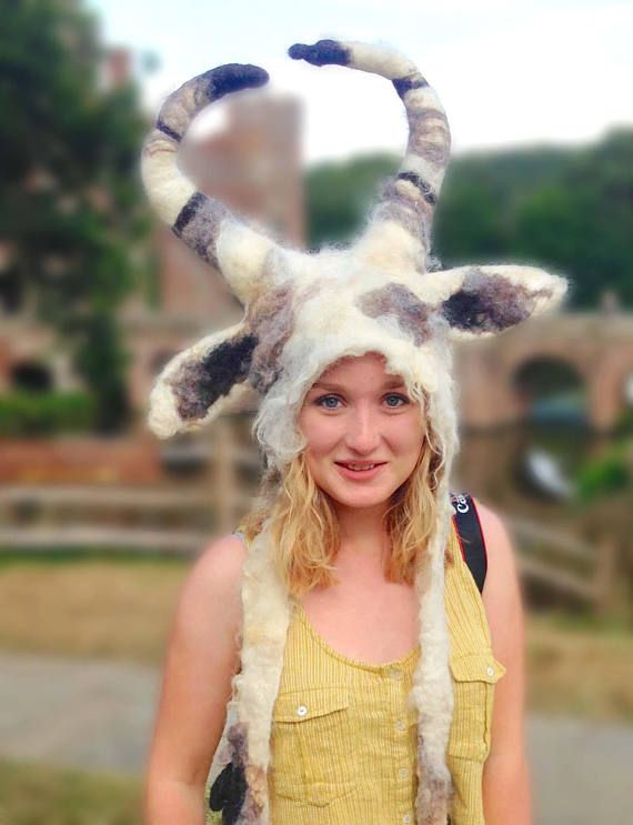 Welcome to my new 'Raw Ferel' Collection, unique hand felted headwear made from natural Shetland Fleece with posable horns. This hand felted Capricorn Goat horned Animal beast headdress is made with raw Shetland Fleece. The base layer of the first hat shown is a carded Wensleydale while the