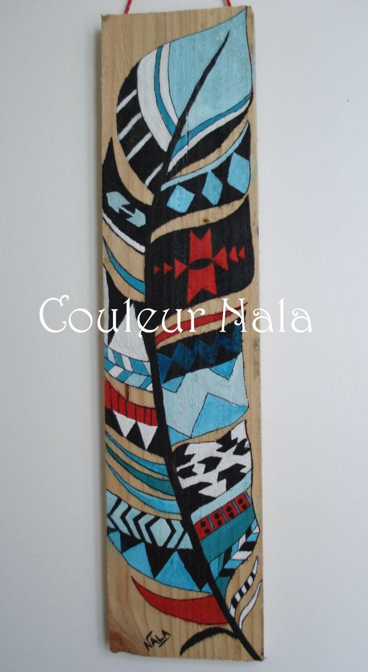 Peinture sur bois de palette, motif amérindien, peinture à l'huile