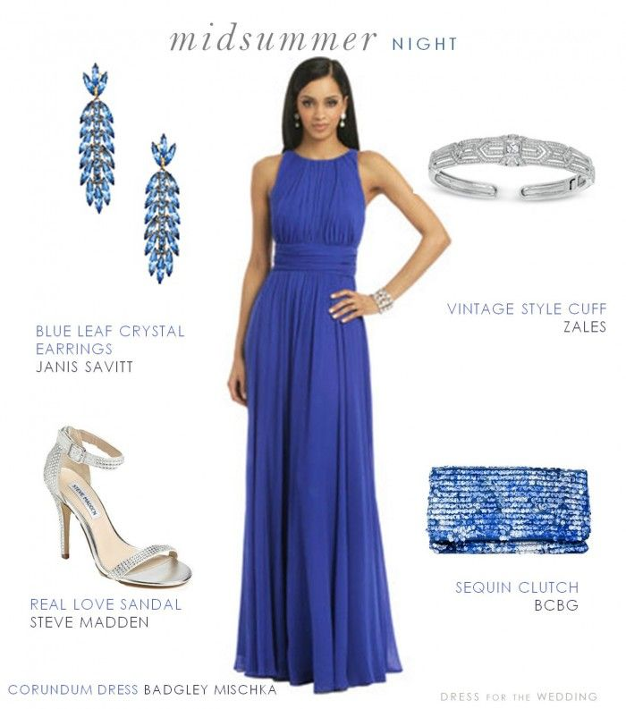 Blue Formal Gown for a Wedding Guest