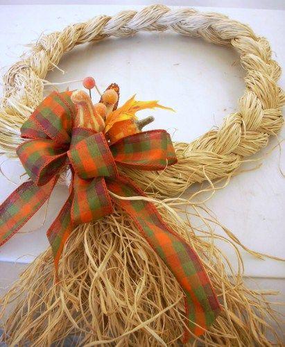 Fall Crafts: Braided Raffia Wreath
