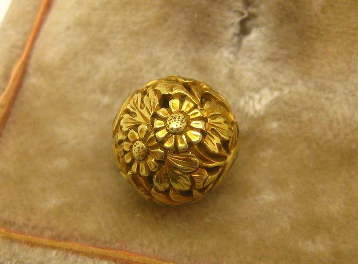 Antique 19th C. Japanese 14K Gold Ojime Bead Flowers & Leaves  # 10  Netsuke 10.5 MM IN DIAMETER..WEIGHS 1.7 GRAMS Tested 12k-14k Sold 5/26/16 eBay $819.00