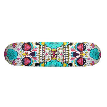 Hipster Sugar Skull and Teal Blue Floral Roses Custom Skate Board