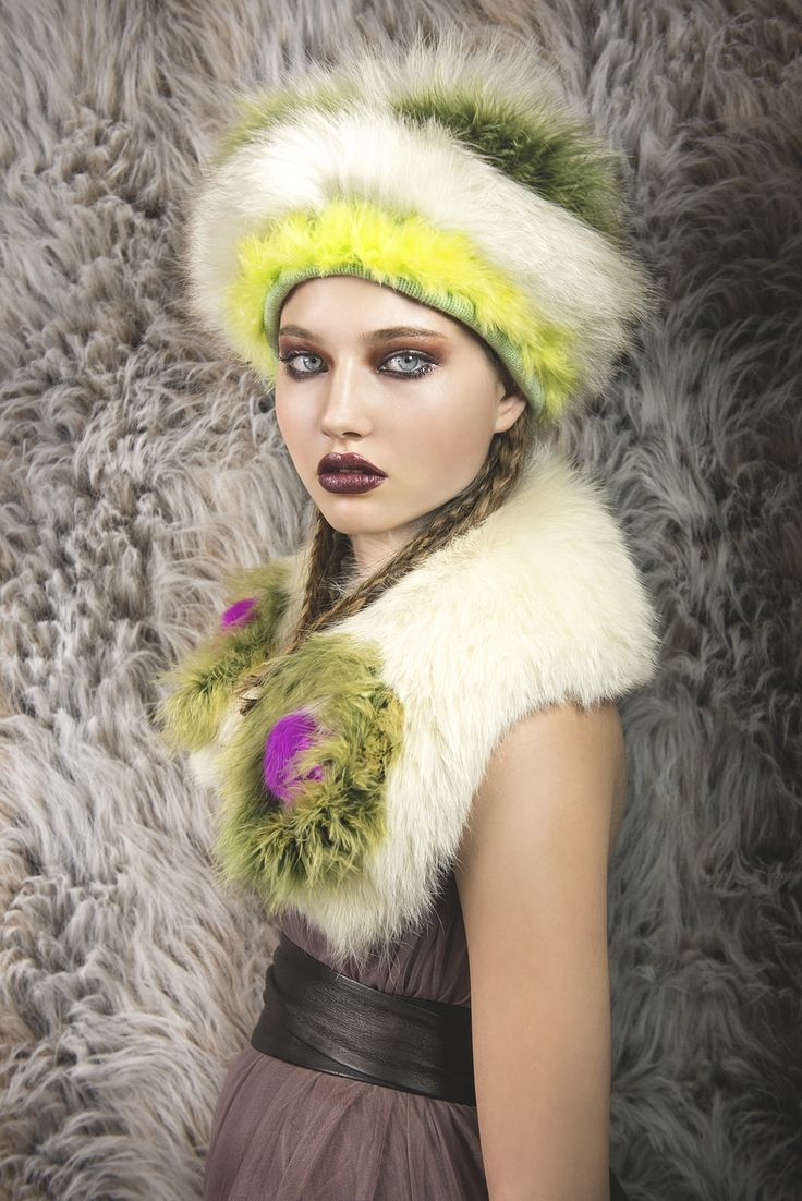 stunning upcycled fox fur hat with ahint of neons