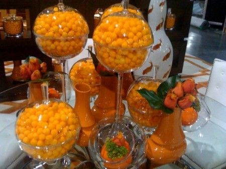 glass containers filled with cheese puffs. NEAT IDEA FOR HALLOWEEN PARTY DISPLAY DECOR