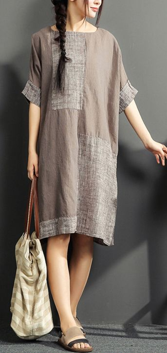 gray summer linen dresses patchwork oversize cotton sundress short sleeve shirt dress