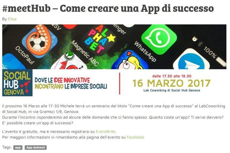 meetHub! di Social Hub Genova - Come creare una App di Successo