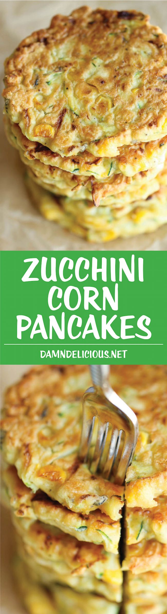 "Zucchini Corn Pancakes - These easy pancakes are the perfect side dish or appetizer to any meal. And best of all, they don't even taste ""healthy""!"