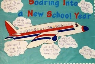 This is going on the wall outside my classroom!  I flew an airplane this year, and I think it's about time for us to soar! *Use names of students around, as well as a new title