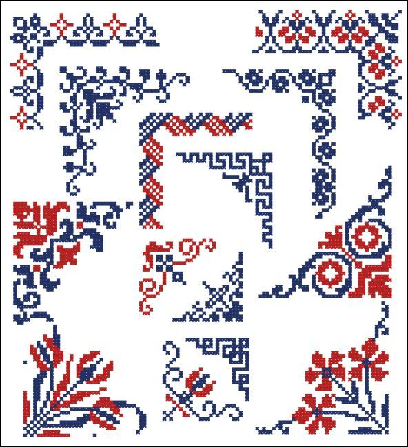 Border Motifs 009 Corners (Floral) : MiniCrossStitch, The World of Small Stitchery