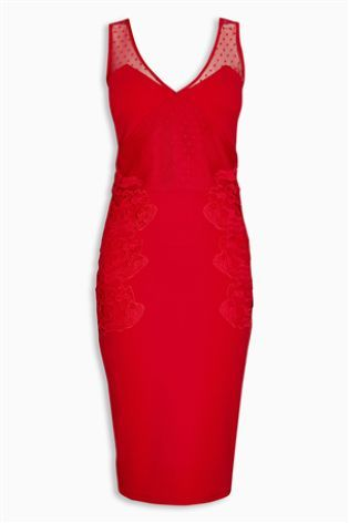 Red Lace Panel Bodycon Dress