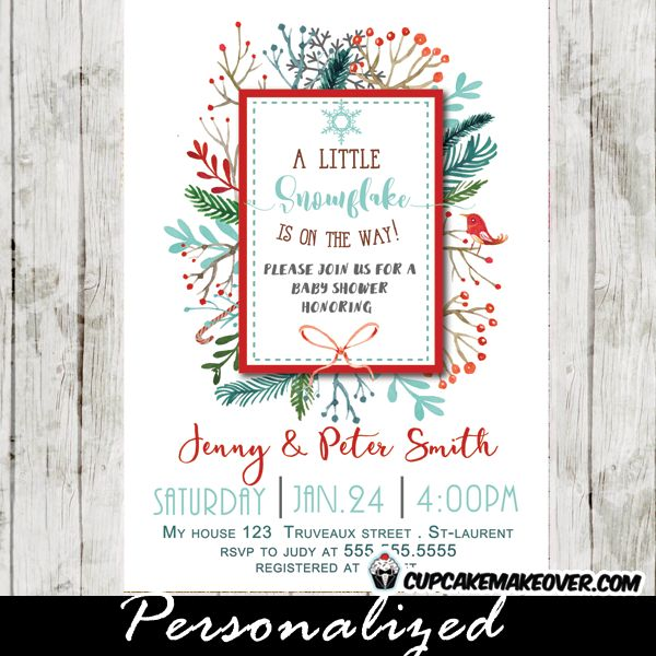 Snowflake Baby Shower Invitations, Winter Berry Wreath