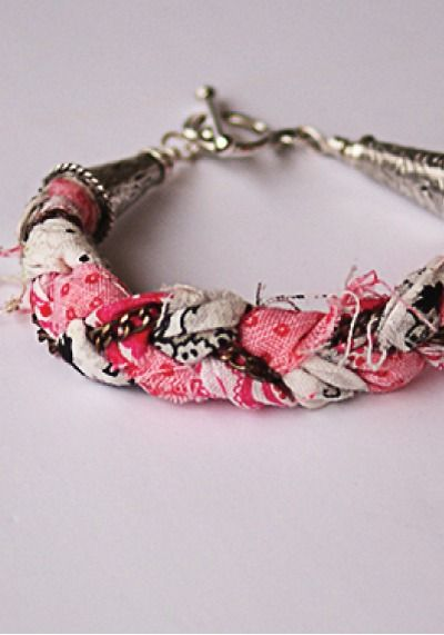 DIY Fabric Scrap Bracelets – Recycle your old fabric scraps to make a cool and unique piece of jewelry!