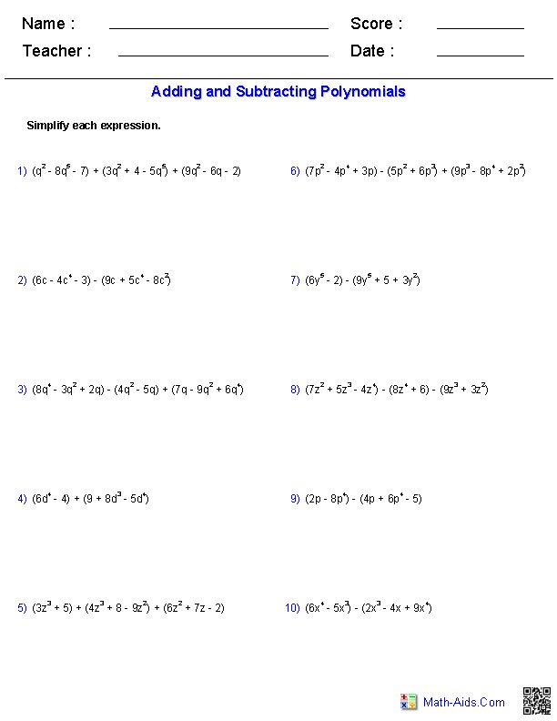 Worksheet Adding And Subtracting Polynomials Worksheet 1000 images about polynomials on pinterest activities student adding and subtracting worksheets