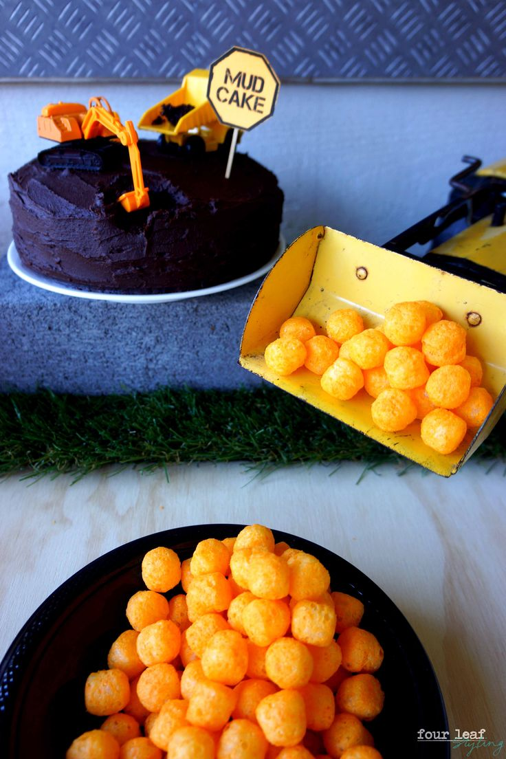 Construction-themed food, Mud Cake and Wreaking Balls | Party Styling by Four Leaf