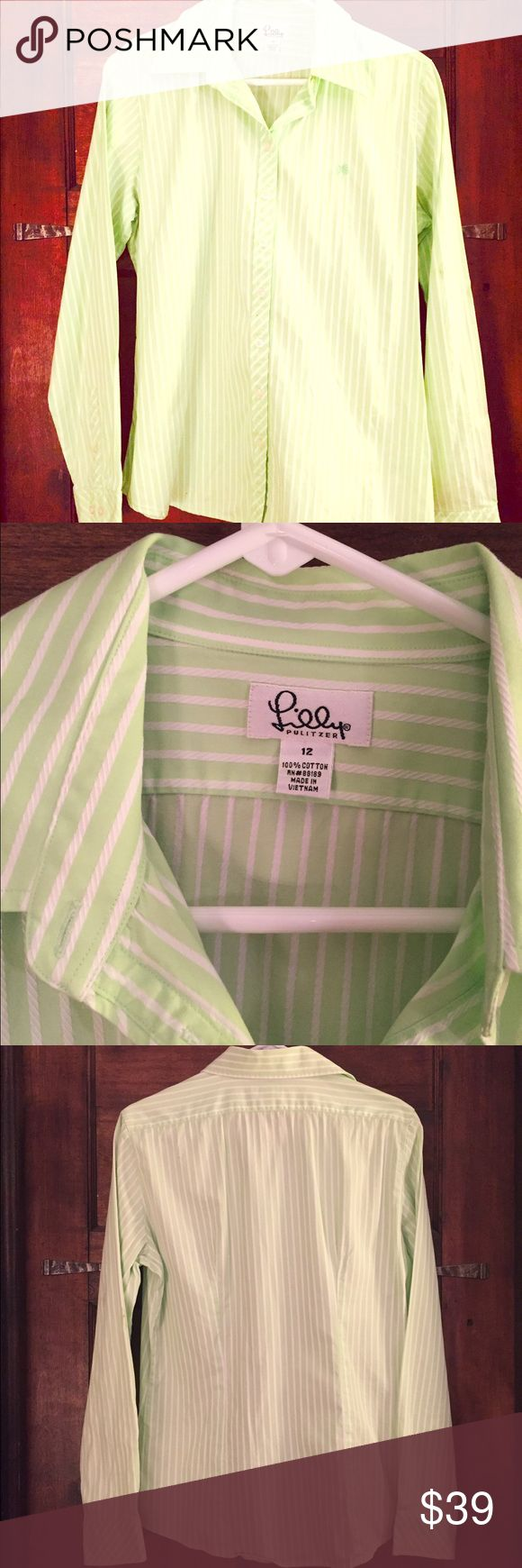 NWOT Lilly Pulitzer Lime Green Women's Oxford 12 NWOT! Soft, semi-stretchy fitted Oxford button-down. Lime green with slimming vertical white pinstripe. Great for office or leisure. Lightweight fabric is perfect on its own but doesn't get too hot under a blazer for professional settings. Lilly Pulitzer Tops Button Down Shirts