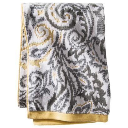 Threshold Textured Paisley Bath Towel Gray Yellow
