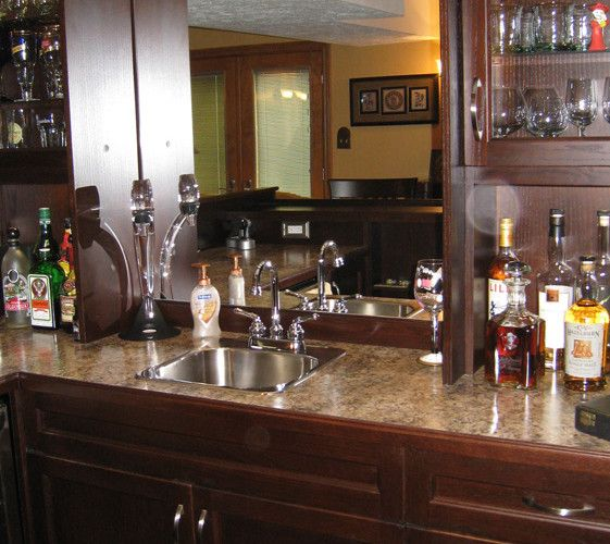 Bar Back Unit With Server Top, Storage And Display Shelves.
