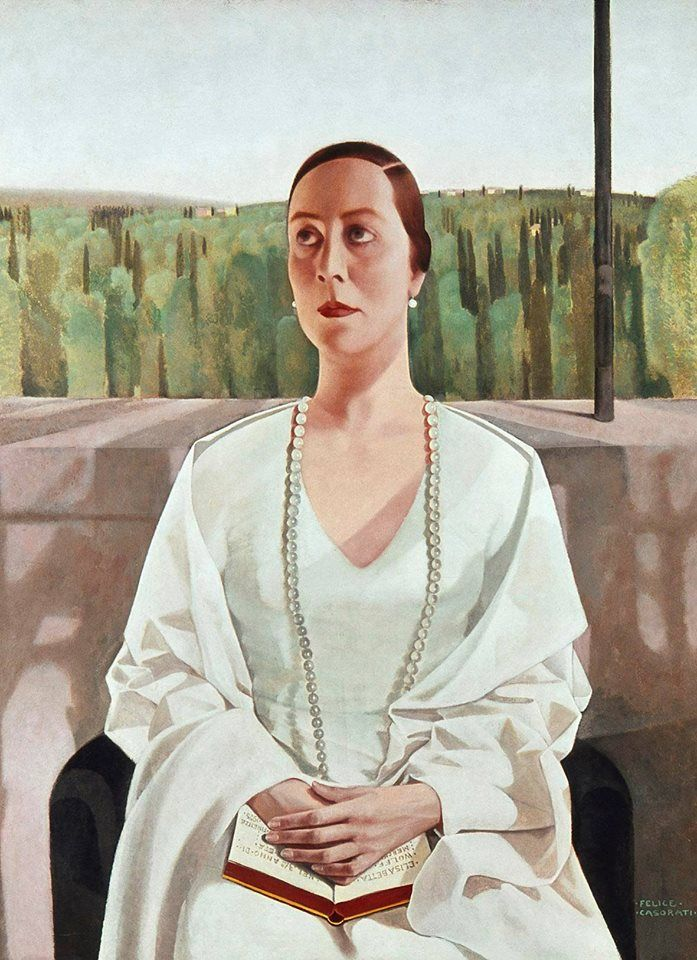 La Signora Elisabeth Albrecht (c.1925). Felice Casorati (Italian 1883-1963). Oil on board. Pinakothek der Moderne.The portrait of Albrecht with her book is dispassionate. The pose is formal, the sitter looking up to her right; otherwise it is essentially symmetrical. Albrecht's face shows little emotion, typical of Casrati's works during this period. Although he received some criticism for his style, Casorati shrugged off the criticism.