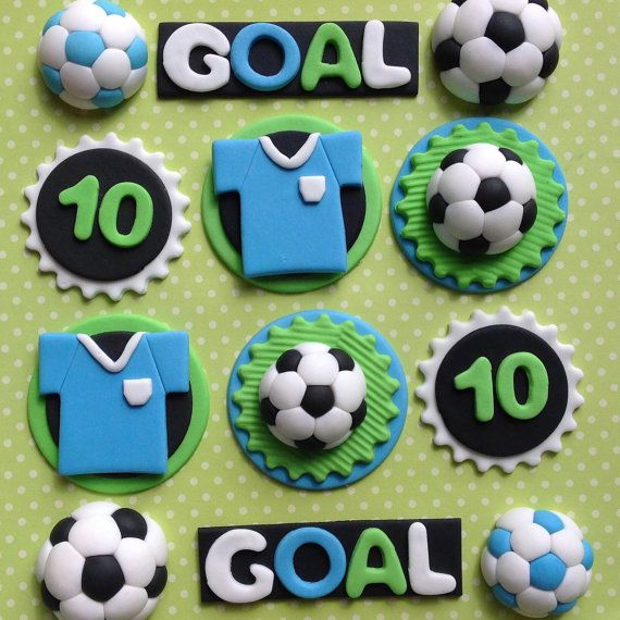 12 Edible Fondant Football Cupcake Toppers Soccer Cake Toppers Cake Decorations Football Cupcakes Soccer Cake Football Birthday Cake