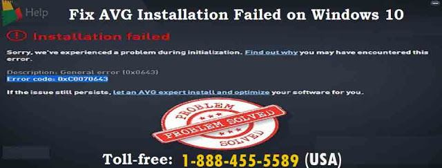 AVG helpline 1-888-455-5589: AVG Installation Failed on Windows 10
