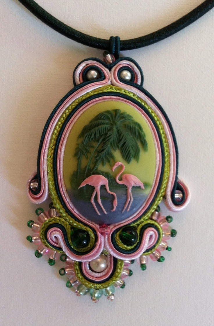 Elegant Flamingo Soutache Pendant with Green Cord by FrenchMermaid