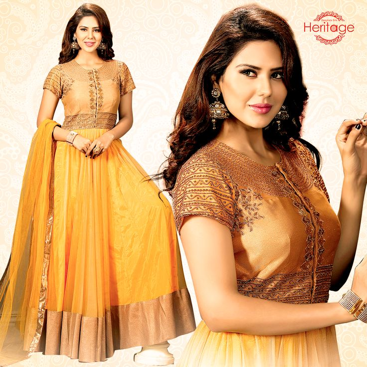 Yellow And Gold Net Embroidered Floor Length Anarkali Suit