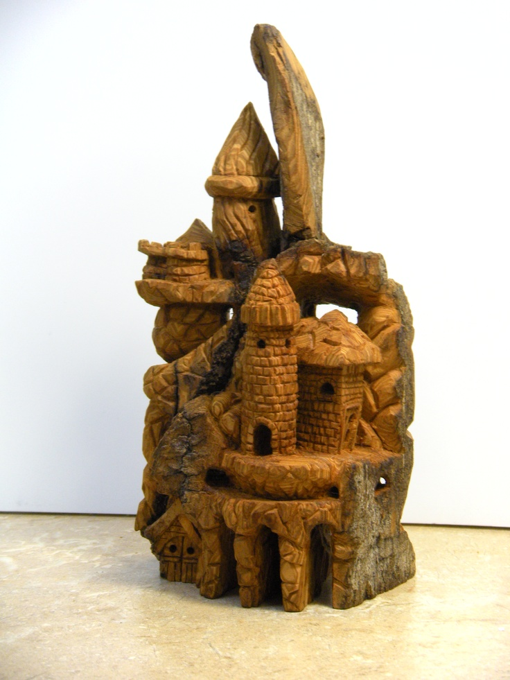 Mini castle in cottonwood bark about quot tall