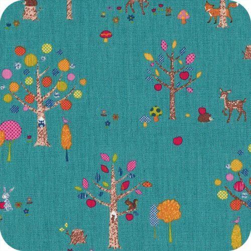 Tissu japonais Forest bleu canard