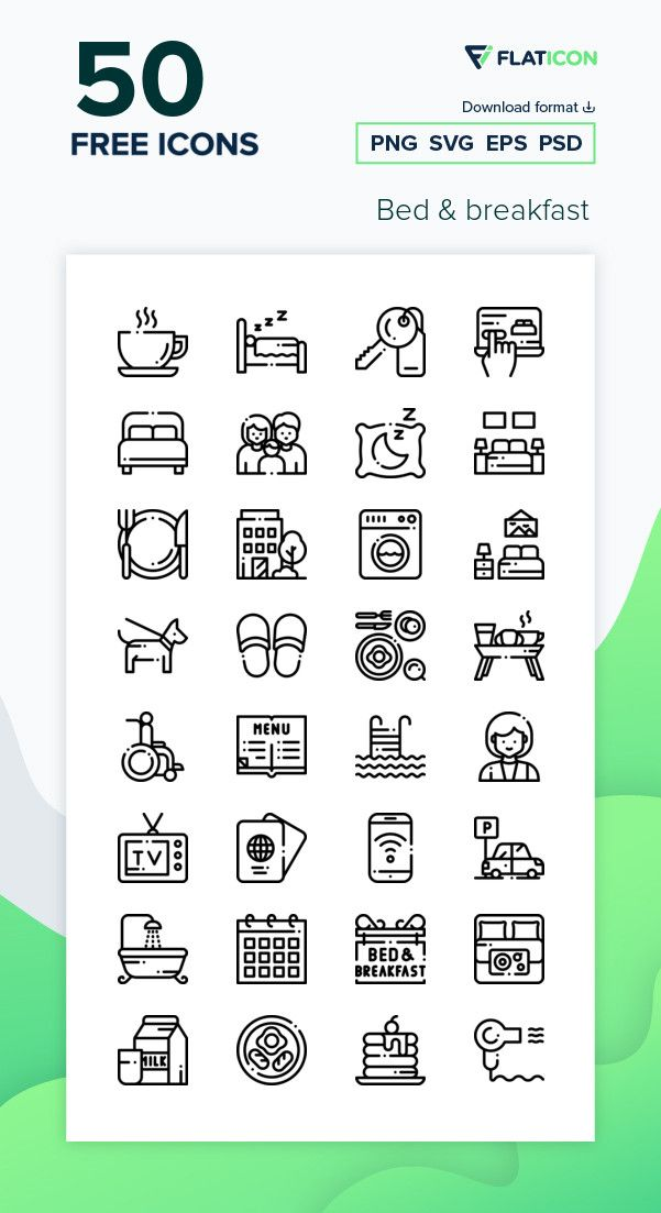 50 Free Vector Icons Of Bed Breakfast Designed By Freepik Icon Free Icon Packs Vector Free