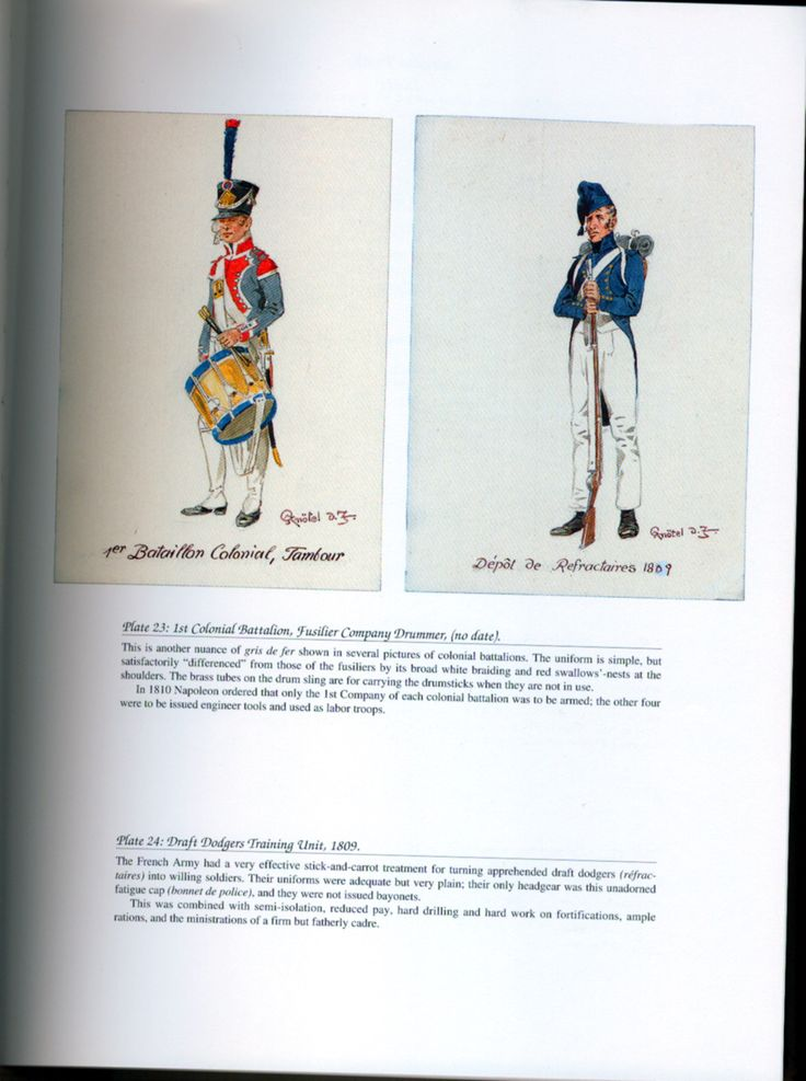 Gendarmerie, Police, and Disciplinary Organizations: Plate 23: 1st Colonial Battalion, Fusilier Company Drummer, (no date). + Plate 24: Draft Dodgers Training Unit, 1809.