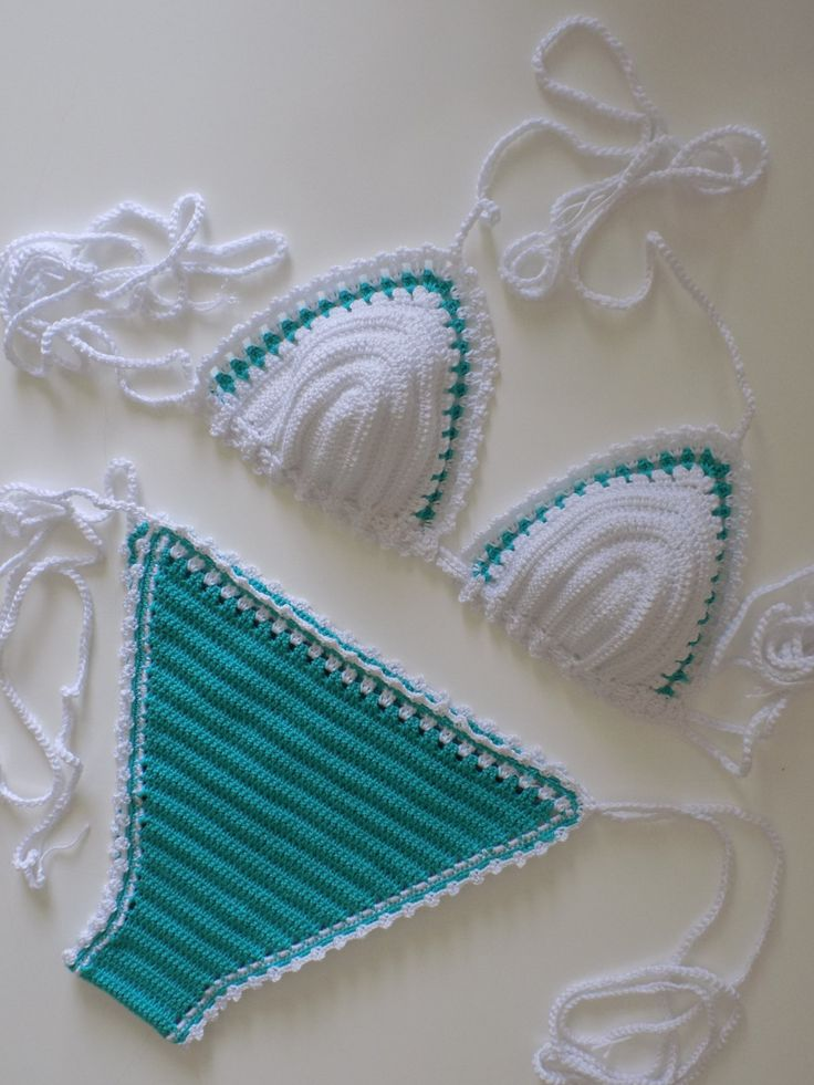 White- Teal Green Crochet Bikini - Crochet Bikini Top and Bottoms, Crochet Vintage Swimsuit, Crochet Triangle Bikini by pompomhats on Etsy
